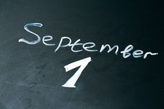 September 1 The phrase written in chalk on the blackboard. Royalty Free Stock Images
