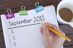 September 2015 Plan Royalty Free Stock Photo