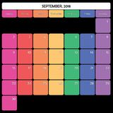 SEPTEMBER 2018 planner big note space specific color weekdays. September 2018 Planner Calendar big editable note space specific color day Stock Photography