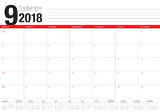 September 2018 planner calendar vector illustration Royalty Free Stock Photography