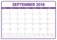 September 2018 planner calendar vector illustration. Simple and clean design Royalty Free Stock Image