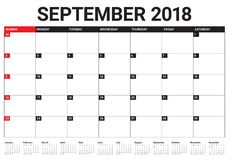 September 2018 planner calendar vector illustration. Simple and clean design Royalty Free Stock Photo