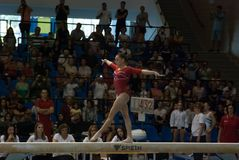 September 2 2017 Ploiesti Romania Woman National Gymnastics. Competition, Larisa Iordache exercise on the balance beam Stock Image