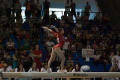 September 2 2017 Ploiesti Romania Woman National Gymnastics. Competition, Larisa Iordache exercise on the balance beam Royalty Free Stock Images