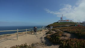 September 2015 Portugal Nice view of a lighthouse with the ocean in Portugal, atlantic border of Europe ocean stock video