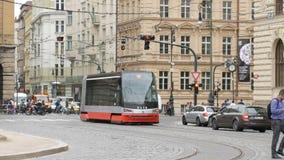 September 12, 2017 - Prague, Czech Republic: streets of the city, urban landscape, modern tram from which people leave. September 12, 2017 - Prague, Czech stock video