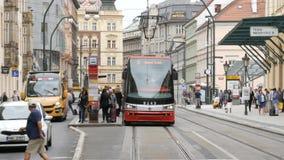 September 12, 2017 - Prague, Czech Republic: streets of the city, urban landscape, modern tram from which people leave. September 12, 2017 - Prague, Czech stock footage