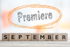 September premiere event sign. On a wooden stage Stock Photo