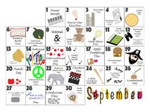September 2020 Quirky Holidays and Unusual Celebrations Calendar. September 2020 calendar illustrated with daily Quirky Holidays and Unusual Celebrations royalty free illustration