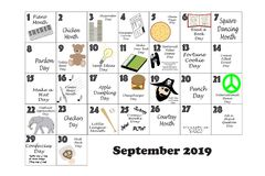 September 2019 Quirky Holidays and Unusual Events Stock Image