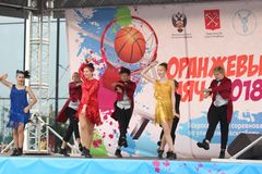 September 9, 2018, Russia, St. Petersburg, Youth dance group performance. September 9, 2018, Russia, St. Petersburg, public open performance of the youth dance Stock Image