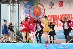 September 9, 2018, Russia, St. Petersburg, Youth dance group performance. September 9, 2018, Russia, St. Petersburg, public open performance of the youth dance Stock Photography