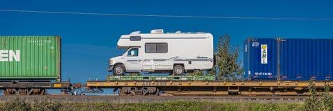 1 september, 2016 - rv op trein die terug van Alaska aan Lagere 48, Anchorage Alaska worden verscheept Stock Foto