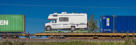 September 1, 2016 - RV on train being shipped back from Alaska to Lower 48, Anchorage Alaska stock photo