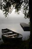September's foggy lake view Royalty Free Stock Photo