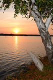 September's lake sunset Royalty Free Stock Photo