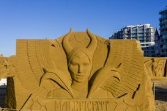 OSTEND, BELGIUM  themed sand castles,. September 22 2017- Sand castles of Maleficent on the beach of Ostend Royalty Free Stock Photo