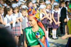 1 september schoolmeisje Stock Foto