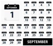 September 1 - September 30 - Calendar Icons stock image