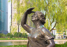 29 september, 2014 Shanghai Beeldhouwwerk in het park Royalty-vrije Stock Foto