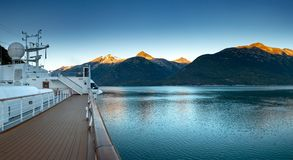 September 15, 2018 - Skagway, AK: Early morning view of Taiya Inlet from cruise ship. royalty free stock images
