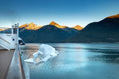 September 15, 2018 - Skagway, AK: Early morning view of Taiya Inlet from cruise ship. stock images