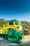September 15, 2018 - Skagway, AK: Engine 96 of the White Pass Railway stopped at Broadway Street pedestrian crossing. stock image