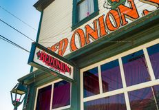 September 15, 2018 - Skagway, AK: Front facade of The Red Onion Saloon, a former brothel. royalty free stock photography