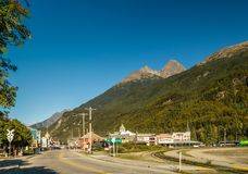 September 15, 2018 - Skagway, AK: Northeast view of town from south end of Braodway Street. stock images