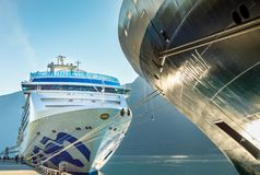 September 15, 2018 - Skagway, AK: The Volendam and Island Princess cruise ships. royalty free stock photo