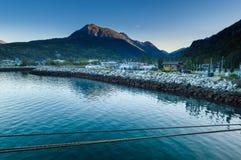 September 15, 2018 - Skagway, AK: Small Boat Harbour at daybreak. stock photos