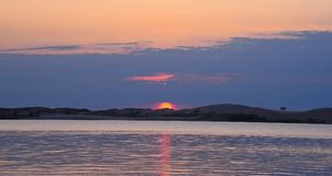 September solnedgång över Silver Lake Fotografering för Bildbyråer