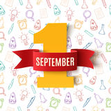 September 1st. Back To School background. September 1st. Back To School background with hand drawn school tools. Poster, greeting card or brochure template Stock Images
