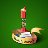 September 1st. Back To School background. With pencil and books. Poster, greeting card or brochure template. Vector illustration Stock Photography