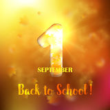 September 1st. Back To School background. Withwith gold maple leaves and bokeh lights with sunny sky. Poster, greeting card or brochure template. Vector Stock Images