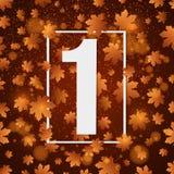 September 1st dag av kunskap Vitt baner med nummer 1 Höstbakgrund för affisch tillbaka skola till Gulingen tänder Apelsin l Royaltyfri Foto