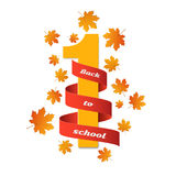 September 1st. Day of knowledge. Back to school. Red tape with white number 1 isolated on white background. Red-orange leaves of m. Aple. Autumn banner. Vector Stock Photography