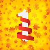 September 1st. Day of knowledge. Empty red ribbon with white number 1. Autumn background for poster. Orange leaves of maple. Abstr Stock Image
