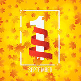 September 1st. Day of knowledge. Empty red ribbon with white number 1. Autumn background for poster. Orange leaves of maple. Abstr. Act yellow lights bokeh. Back royalty free illustration