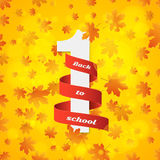 September 1st. Day of knowledge. Red ribbon with white number 1. Autumn background. Orange leaves of maple. Abstract yellow glare Royalty Free Stock Photos