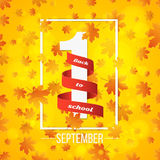 September 1st. Day of knowledge. Red ribbon with white number 1. Autumn background for poster. Orange leaves of maple. Abstract ye. Llow lights bokeh. Back to stock illustration