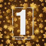 September 1st. Day of knowledge. White banner with number 1. Autumn background for poster. Back to school. Yellow lights. Golden l Royalty Free Stock Photo