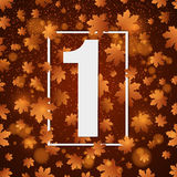 September 1st. Day of knowledge. White banner with number 1. Autumn background for poster. Back to school. Yellow lights. Orange l. Eaves of maple. Vector Royalty Free Stock Photo