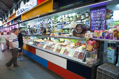 SEPTEMBER 26, 2014: Stand of food in Atarazanas Market, Málaga, Royalty Free Stock Photo