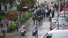 15. September 2018 Straße Breslaus Polen Kotlarska Polizei-Orchester auf der Straße stock footage