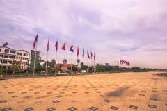 25 september, 2014: Straat bij de kust in Vientiane, Laos Royalty-vrije Stock Fotografie