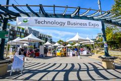 Entrance to the `Technology Business Expo`, Sunnyvale, California royalty free stock photo