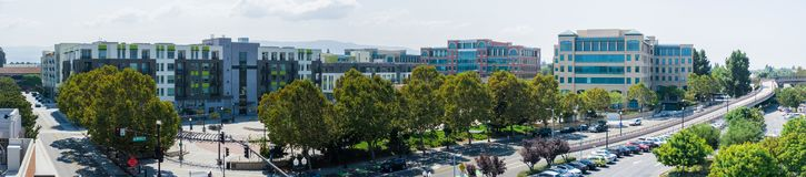 September 5, 2017 Sunnyvale/CA/USA - Panoramic aerial view of downtown Sunnyvale in the morning; south San Francisco bay area stock photo