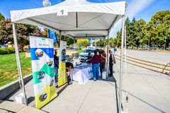 Waymo stand in downtown Sunnyvale royalty free stock photography