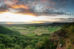 September Sunset - Vale of Mowbray - Sutton Bank. Sutton Bank is a hill in the Hambleton District of the North York Moors National Park, North Yorkshire in Royalty Free Stock Photography